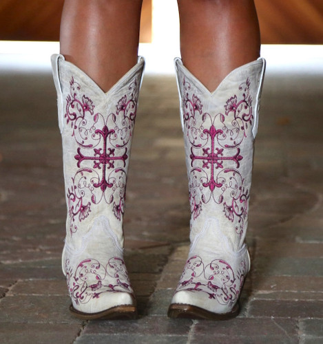 Corral Bone/Metallic Wine Floral Cross Boots A2631 Toe