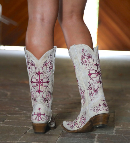 Corral Bone/Metallic Wine Floral Cross Boots A2631 Heel