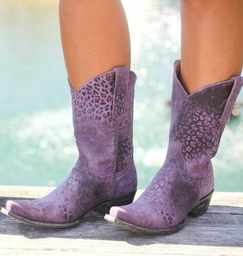 "Old Gringo Leopardito Purple 10"" Boots L168-13 Picture"