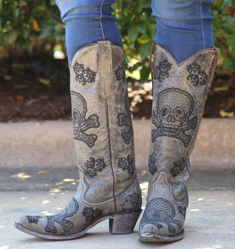 Corral Black Tall Sequins Skulls Boots R1078 Image