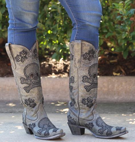 Corral Black Tall Sequins Skulls Boots R1078 Photo