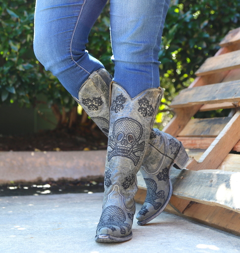 Corral Black Tall Sequins Skulls Boots R1078 Picture