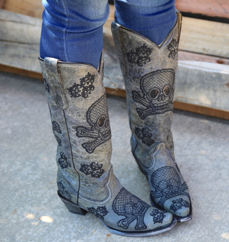 Corral Black Tall Sequins Skulls Boots R1078 Top