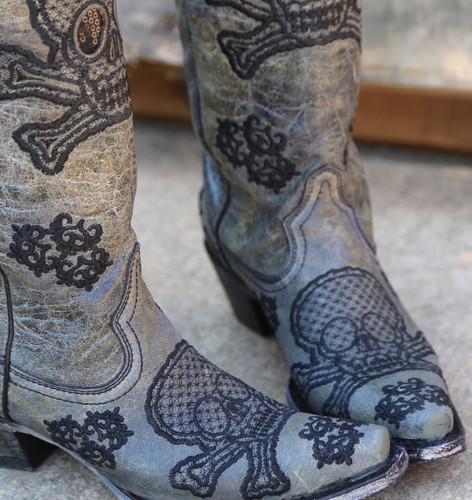 Corral Black Tall Sequins Skulls Boots R1078 Toe