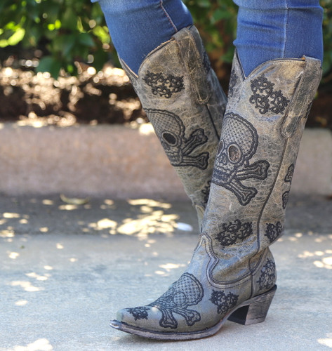 Corral Black Tall Sequins Skulls Boots R1078 Side