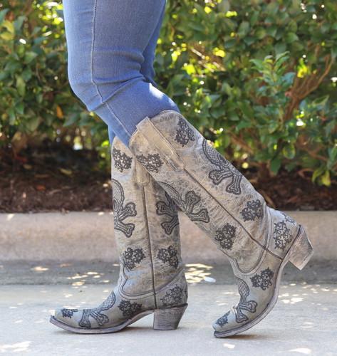 Corral Black Tall Sequins Skulls Boots R1078 Walk