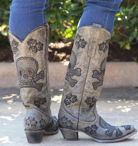 Corral Black Tall Sequins Skulls Boots R1078 Heel