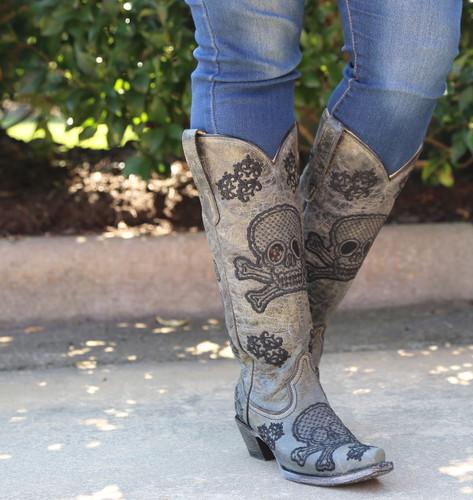 Corral Black Tall Sequins Skulls Boots R1078 Crossbones