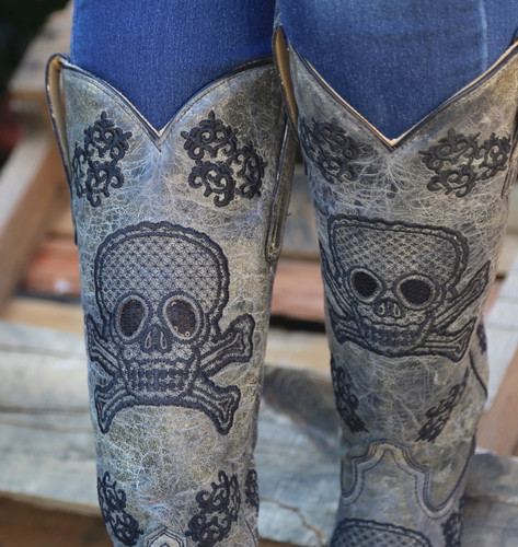 Corral Black Tall Sequins Skulls Boots R1078 Detail