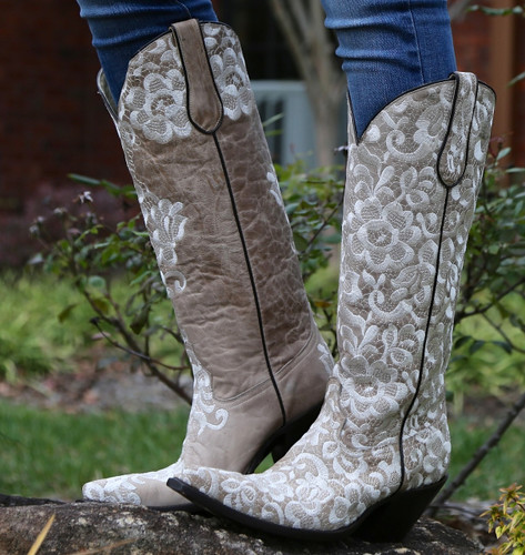 Corral Bone Tall Lace Embroidery Boots G1128 Image