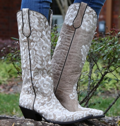 Corral Bone Tall Lace Embroidery Boots G1128 Picture