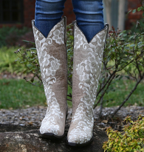 Corral Bone Tall Lace Embroidery Boots G1128 Toe