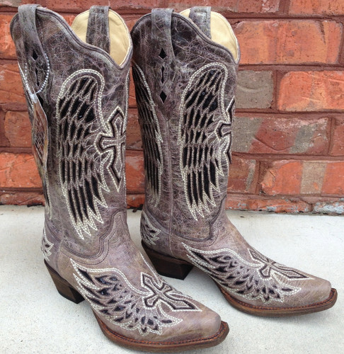 Corral Brown Black Wing and Cross Boot