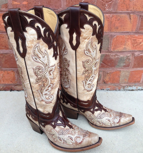 Corral Crackle Bone Tan Studs Boots C2825 Picture