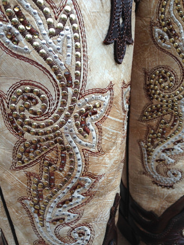 Corral Crackle Bone Tan Stud Boot