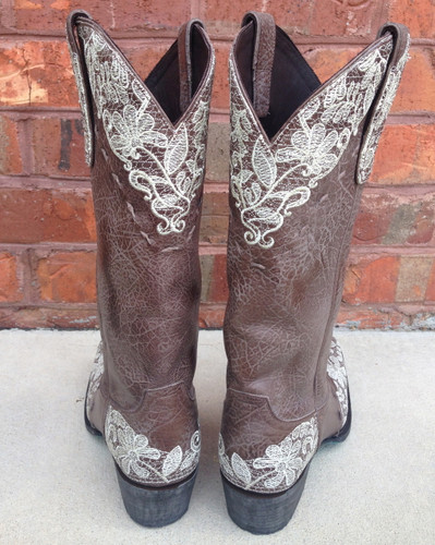 Jeni Lace Brown Cowgirl LB0168C Heel Detail