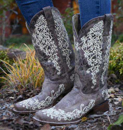 Corral Brown Crater Bone Square Toe Boots A2663 Picture