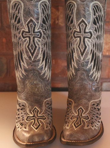 Corral Brown/Black Wing and Cross Square Toe A1197 Front