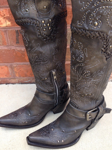 Corral Black Whip Stitch and Studs Boot G1117