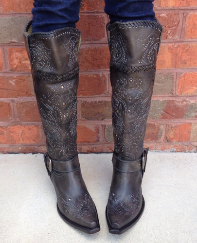 Corral Black Whip Stitch and Studs Boot