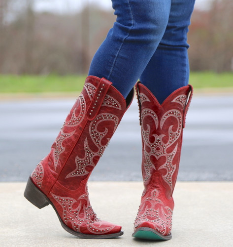Lane Lovesick Stud Red Boots LB0199C Toe