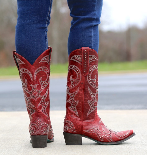 Lane Lovesick Stud Red Boots LB0199C Heel