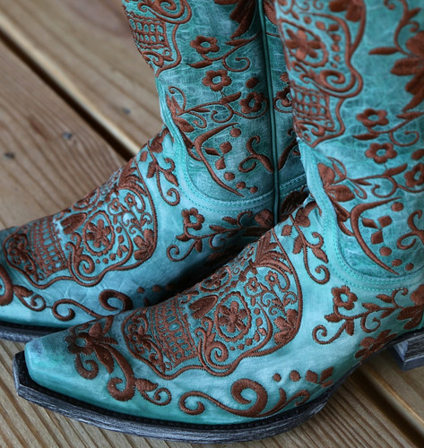 Old Gringo Klak Turquoise/Brown Boots L1300-8 Embroidery