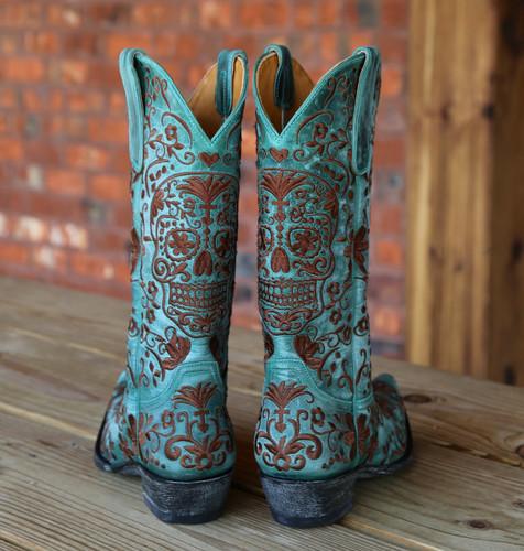 Old Gringo Klak Turquoise/Brown Boots L1300-8 Heel