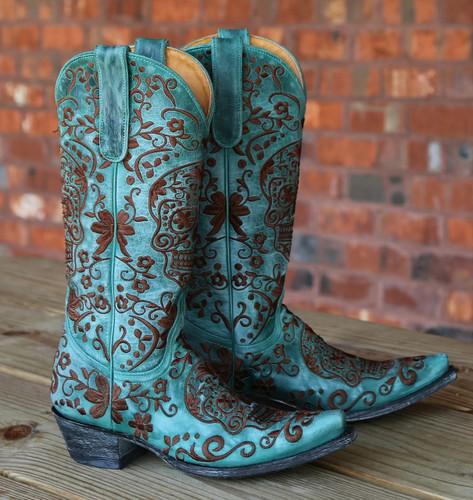 Old Gringo Klak Turquoise/Brown Boots L1300-8 Image