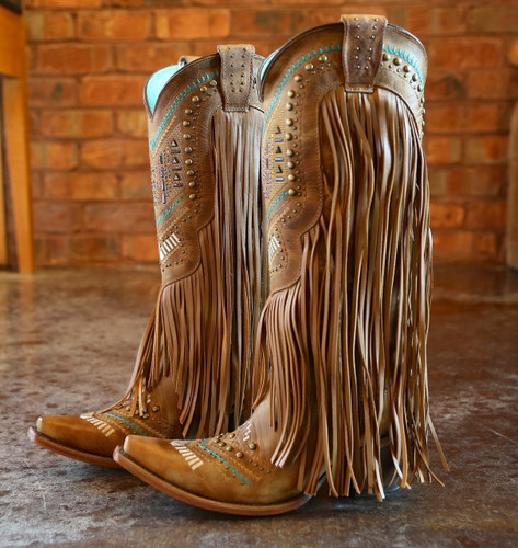 Corral Tan Multicolor Crystal Pattern and Fringe Boots C2910