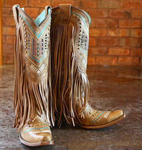 Corral Tan Multicolor Crystal Pattern and Fringe Boots C2910 Image