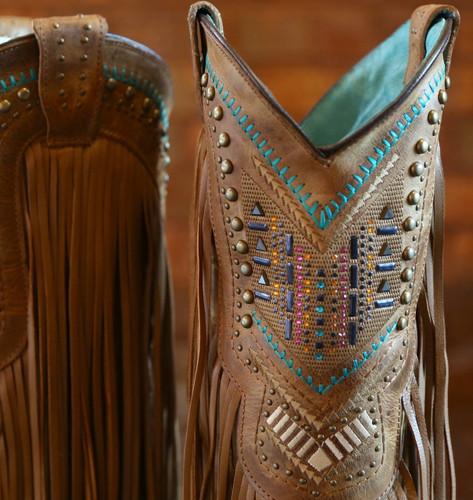 Corral Tan Multicolor Crystal Pattern and Fringe Boots C2910 Studs