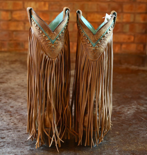 Corral Tan Multicolor Crystal Pattern and Fringe Boots C2910 Heel