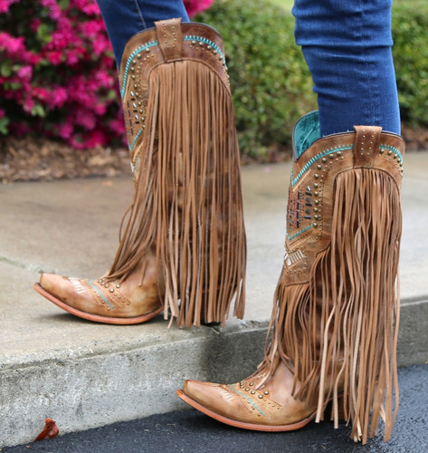 Corral Tan Multicolor Crystal Pattern and Fringe Boots C2910 Spring