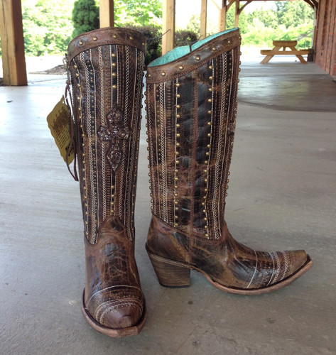 Corral Brown Crystal Cross Stripes and Studs Boots C2925 Image