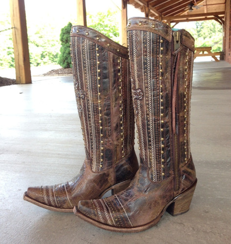 Corral Brown Crystal Cross Stripes and Studs Boots C2925 Side
