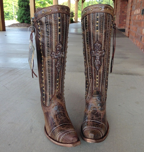 Corral Brown Crystal Cross Stripes and Studs Boots C2925 Toe