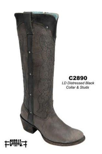 Corral Distressed Black Collar and Studs Boots C2890 Picture