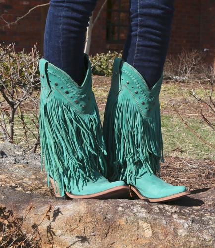 Liberty Black Vegas Fringe Boots Turquoise LB71124