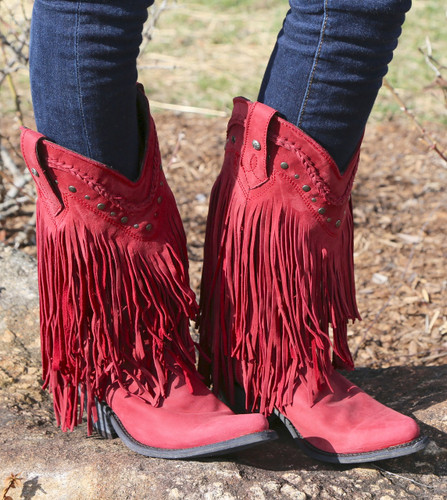 Liberty Black Vegas Fringe Boots Red LB71124 Image