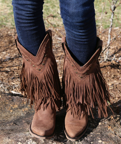 Liberty Black Vegas Fringe Boots Chocolate LB71124
