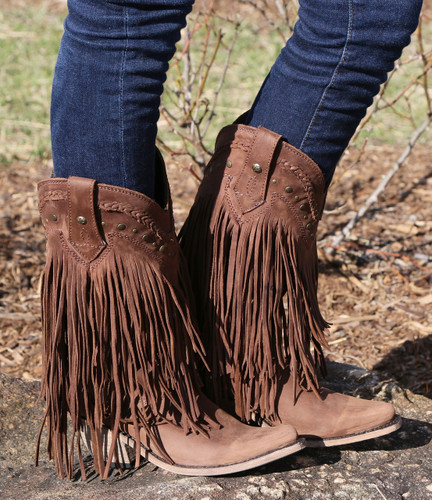Liberty Black Vegas Fringe Boots Chocolate LB71124 Picture
