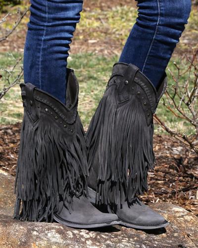 Liberty Black Vegas Fringe Boots Black LB71124 Picture