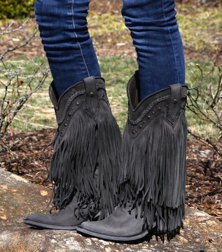 Liberty Black Vegas Fringe Boots Black LB71124 Image