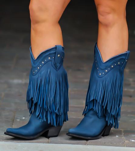 Liberty Black Vegas Fringe Boots Russian Blue LB71124 Photo