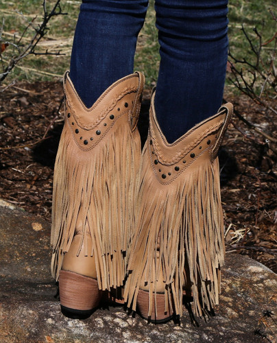Liberty Black Vegas Fringe Boots Bone