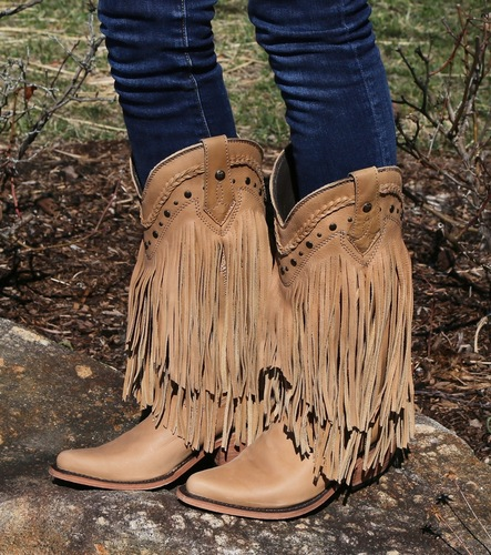 Liberty Black Vegas Fringe Boots Bone LB71124 Picture