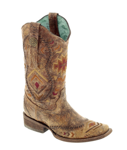 Corral Multicolor Ethnic Pattern and Whip Stitch Square Toe Boots C2915 Picture