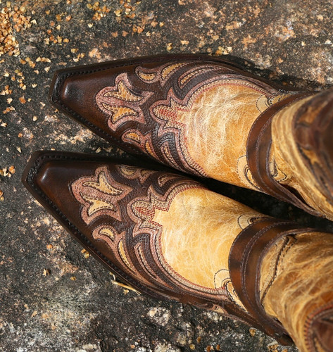 Corral Antique Saddle Cognac Brown Harness and Studs Boots G1229 Toe