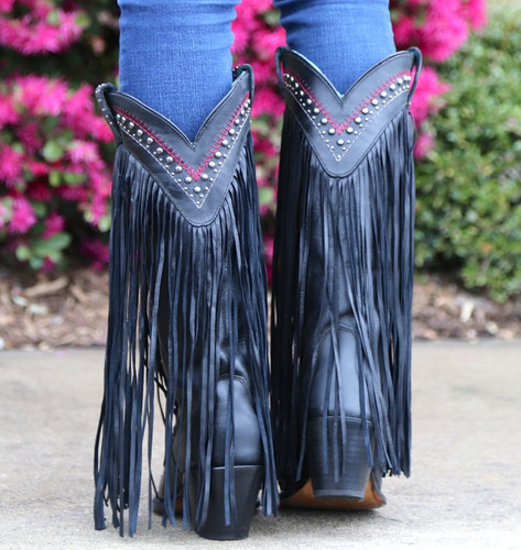 Corral Black Multicolor Crystal Pattern and Fringe Boots C2951 Heel